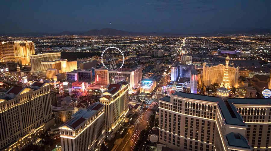 Aerial View of Las Vegas City Lights at Night