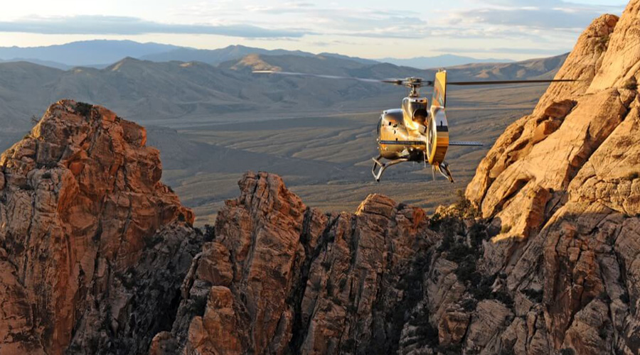 Helicopter Flying Over Vegas Valley