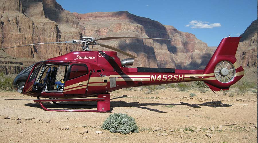 Sundance Helicopter Landed at Grand Canyon Near Colorado River
