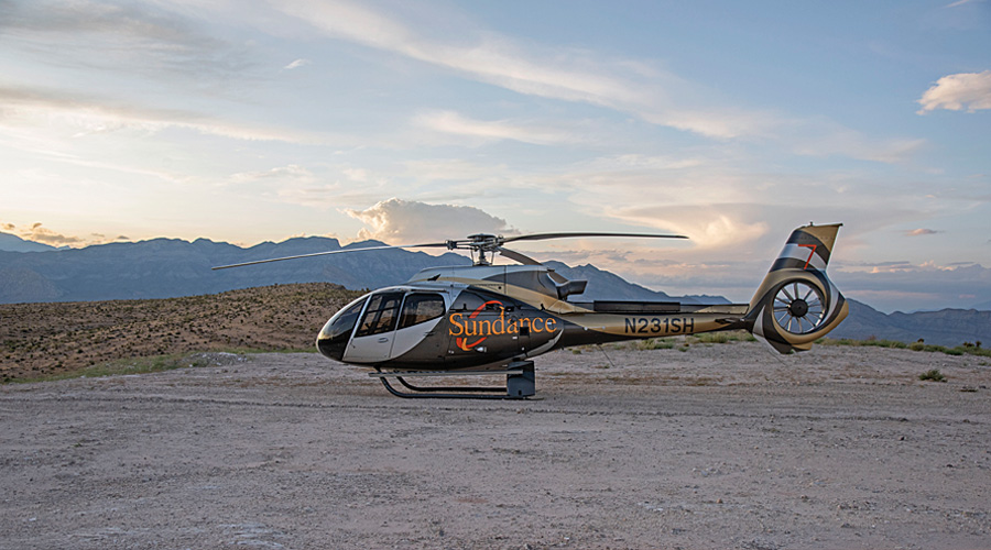 Sundance Helicopter Sitting at Picnic Area Red Rock Canyon