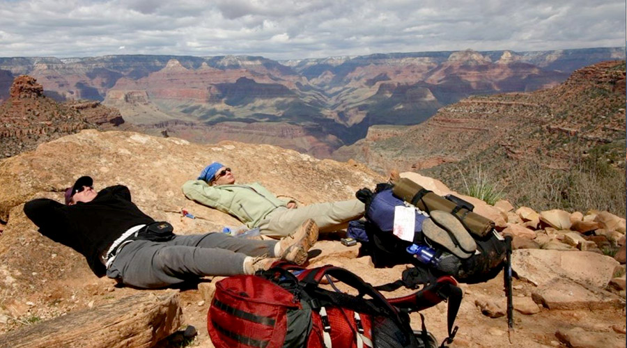 Campers resting at Grand Canyon South Rim