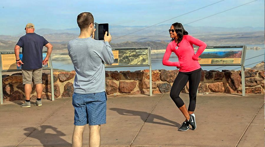 Couple Taking Photo at Lake Mead