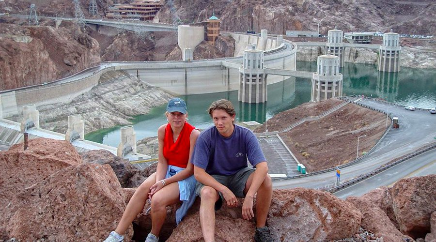 Couple sitting at Hoover Dam