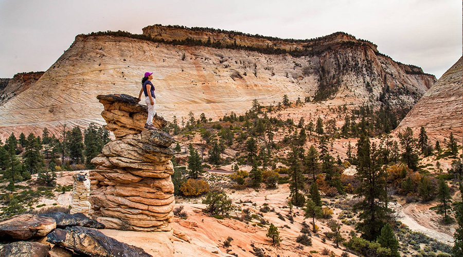 Girl Standing on Strange Rock Formation at Zion