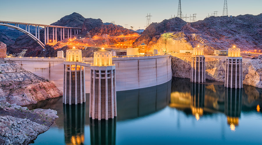 Hoover Dam Lit Up at Night