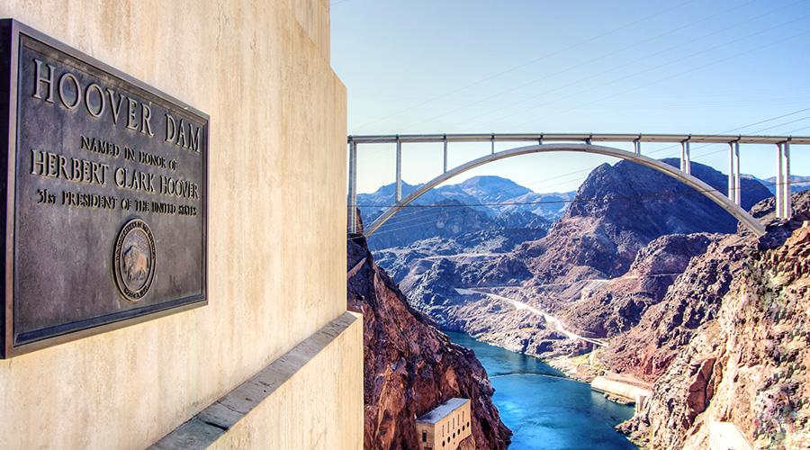 Hoover Dam Plaque and Memorial Bridge