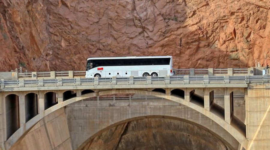 Motorcoach crossing Bridge