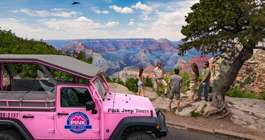 Pink Jeep and Guest at Grand Canyon Over Look
