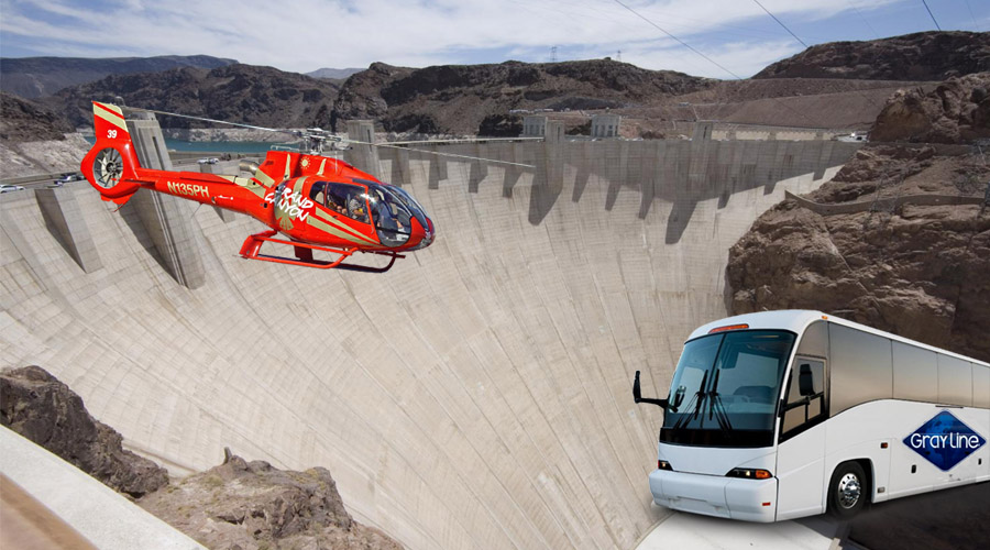Red Heli with White Bus at Hoover Dam